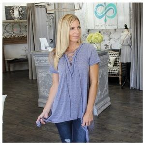 Blue Lace Front Tunic